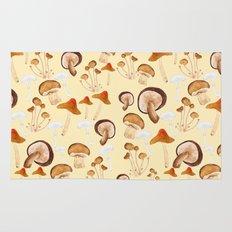 mushroom pattern watercolor painting Rug
