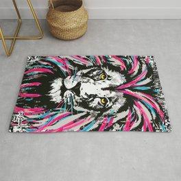 Pink Blue Lion Head | Artistic Lion Drawing  Rug