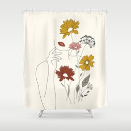 Colorful Thoughts Minimal Line Art Woman with Flowers III Shower Curtain
