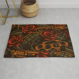 War Roses Tattoo Style Rug