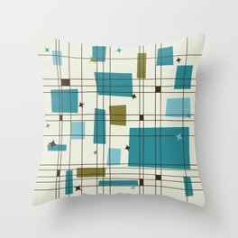 Mid-Century Modern (teal) Throw Pillow