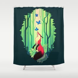 The Fox and the Butterflies Shower Curtain