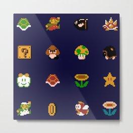 Mario Pattern Metal Print