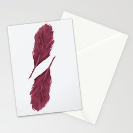 Twin Feathers - bordeux Stationery Cards