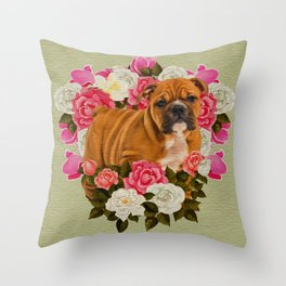 English Bulldog Puppy with flowers Throw Pillow