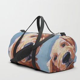 Golden Retriever Puppy Original Oil Painting Duffle Bag