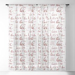Words of Love in Red Sheer Curtain