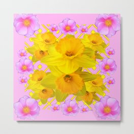 Yellow Daffodils & Pink Roses Abstract Metal Print