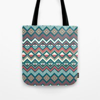 aztec Tote Bags featuring Aztec. by Priscila Peress