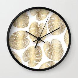 Boho White and Gold Leaf Wall Clock