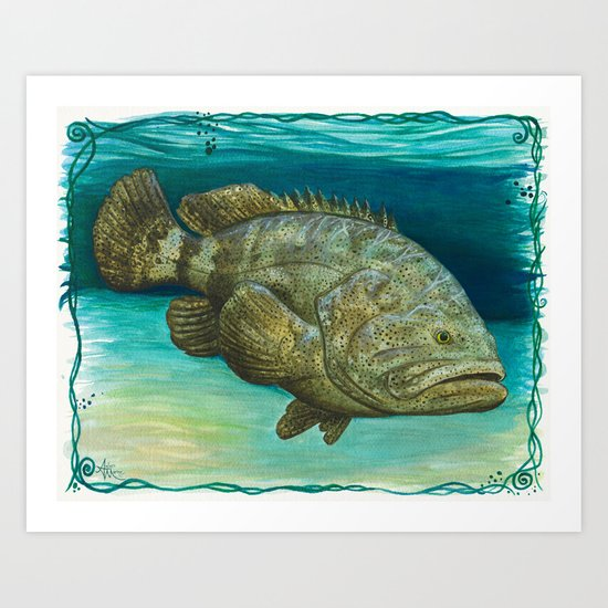 """Goliath Grouper"" by Amber Marine ~ Watercolor Painting, (c) 2016 Art Print"