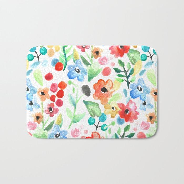 Flourish - Watercolor Floral Bath Mat