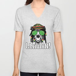 Llamavin a Bad Day | Cute and Funny Llama Gift, Animal Humor Unisex V-Neck