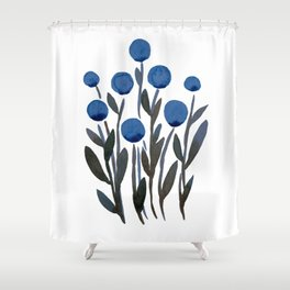 Simple watercolor flowers - midnight blue Shower Curtain