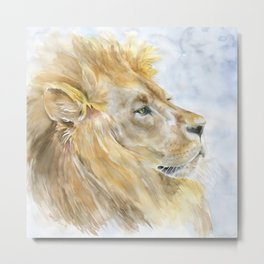African Lion Watercolor Metal Print