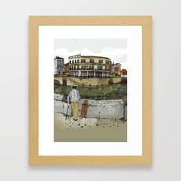 Man and his dog Framed Art Print
