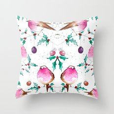 Robin and Baubles Throw Pillow