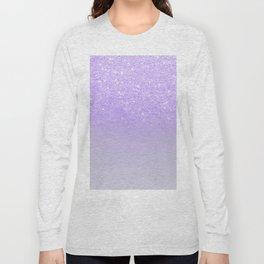 Modern purple sparkles ombre glitter lilac pastel color block Long Sleeve T-shirt