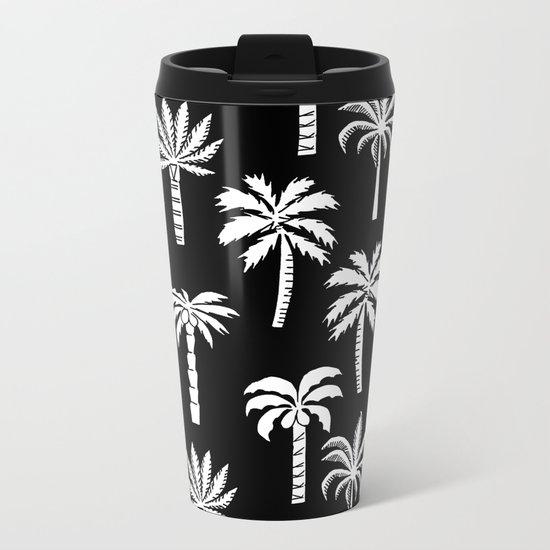 Palm Trees linocut black and white tropical summer art minimalist decor Metal Travel Mug