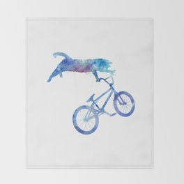 BMX Cat Throw Blanket