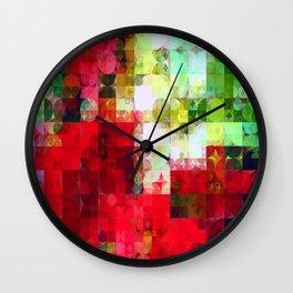 Mixed color Poinsettias 1 Abstract Circles 2 Wall Clock