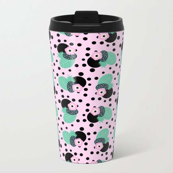 Fruity floral with dots Metal Travel Mug