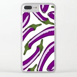 Purple Eggplants Clear iPhone Case