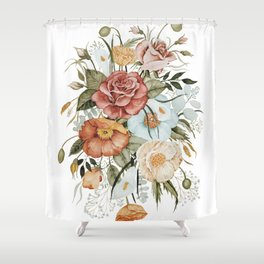 Roses and Poppies Shower Curtain