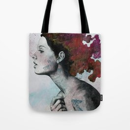 Moral Red Eclipse (colorful hair woman with moths tattoos) Tote Bag