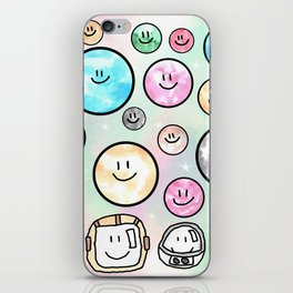 Spacemen illustrated mixed media art. Cute moons with smiley faces. iPhone Skin