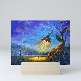 Painting The Scarlet Flower. Fantasy art. Illustration for fairy tale, fabulous world. Mini Art Print