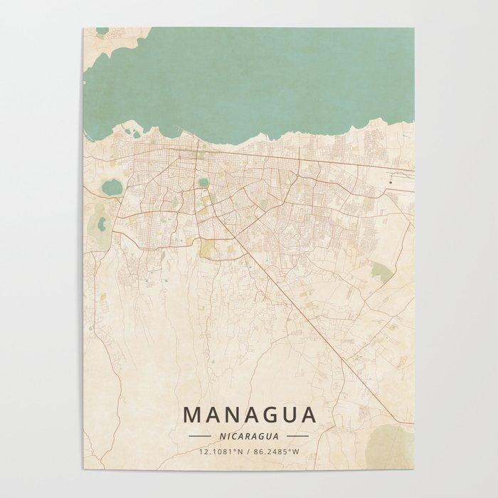 Managua, Nicaragua - Vintage Map Poster by designermapart