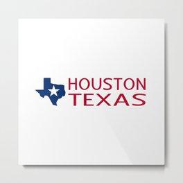Texas: Houston (State Shape & Star) Metal Print