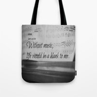 jane austen Tote Bags featuring Music Jane Austen by KimberosePhotography