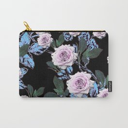 PINK & BLUE ROSE GARDEN BLACK ART DRAWING Carry-All Pouch