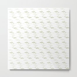 Decorative Pattern with Grass in Lime Green and White Metal Print