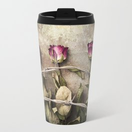 Three dried roses and barbed wire Travel Mug