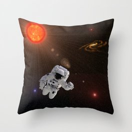 Astronaut Sun Stars Throw Pillow
