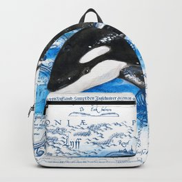 Breaching Baby Orca Watercolor Blue vintage Map Backpack
