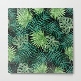 Large Green Fern Palm and Monstera Tropical Plants Metal Print