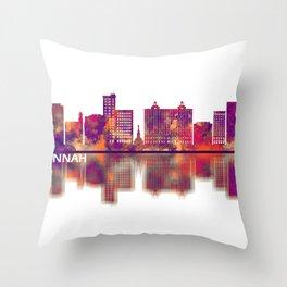 Savannah Georgia Skyline Throw Pillow