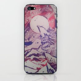 Moon over mountains (dual tone pink/blue) iPhone Skin