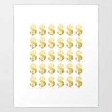 Gold Money - modern sparkle gold foil trendy hipster urban beach summer fresh pattern money sign  Art Print
