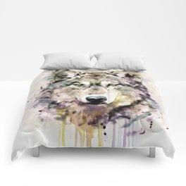 Wolf Head Watercolor Portrait Comforters