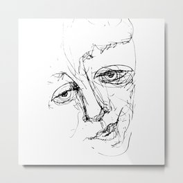 Doodle Face 5 by Kathy Morton Stanion Metal Print