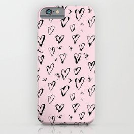 Romantic Hearts print iPhone Case