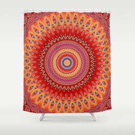 orange red mandala Shower Curtain