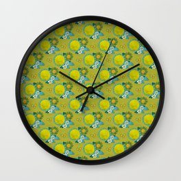 fresh green flowers Wall Clock
