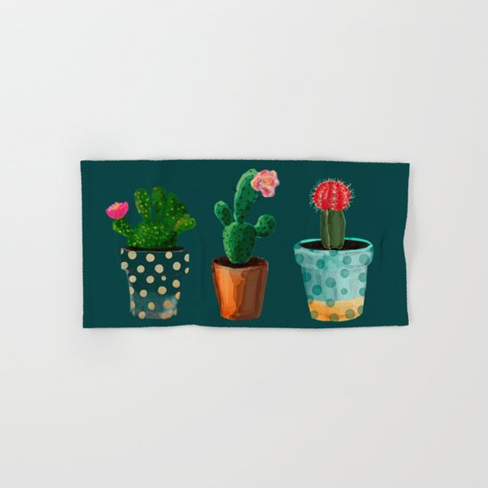 Three Cacti With Flowers On Green Background Hand & Bath Towel
