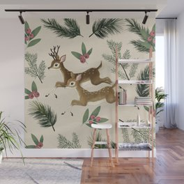 winter deer // repeat pattern Wall Mural